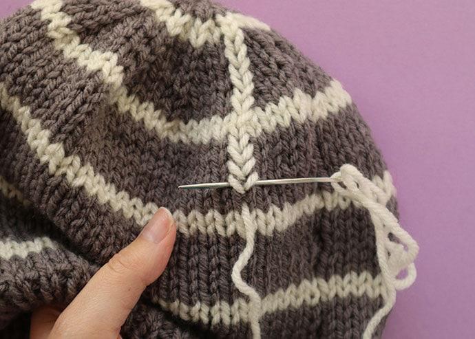 Working duplicate stitch.