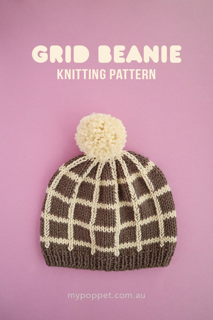 Grid beanie knitting pattern