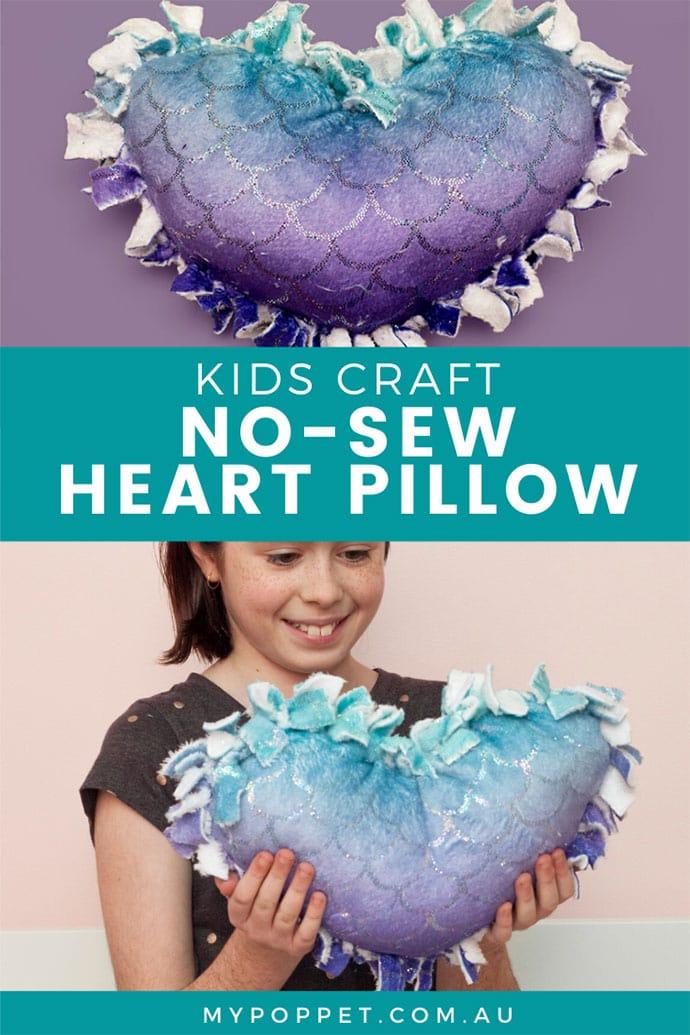 no sew heart pillow pin