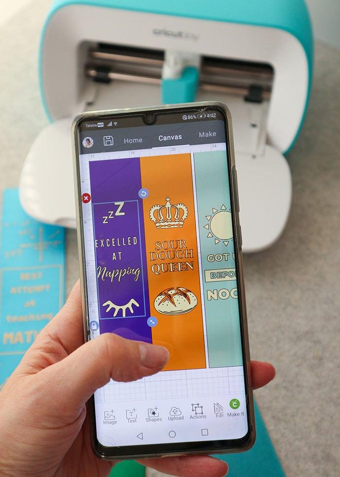 cricut design space on phone screen