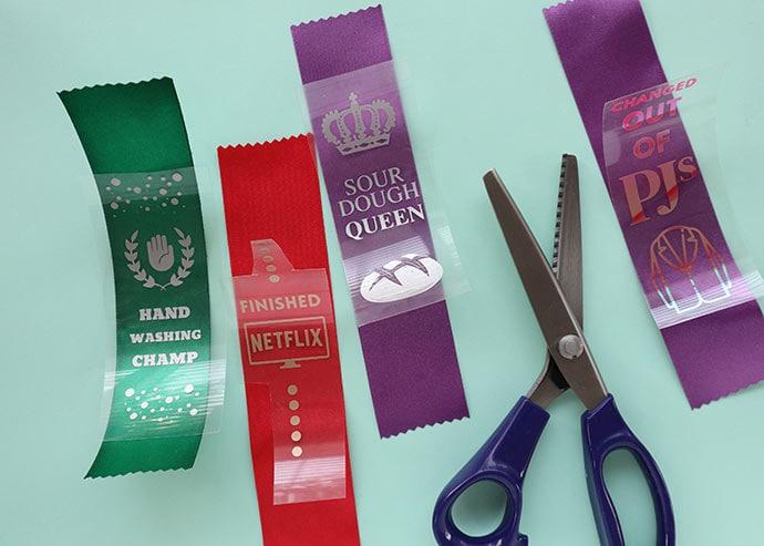 Trim award ribbons with pinking shears