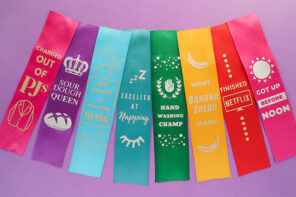 Funny award ribbons made with Cricut iron on vinyl