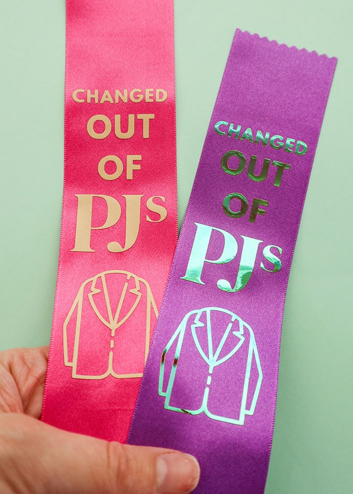 Award ribbons with holographic vinyl transfer