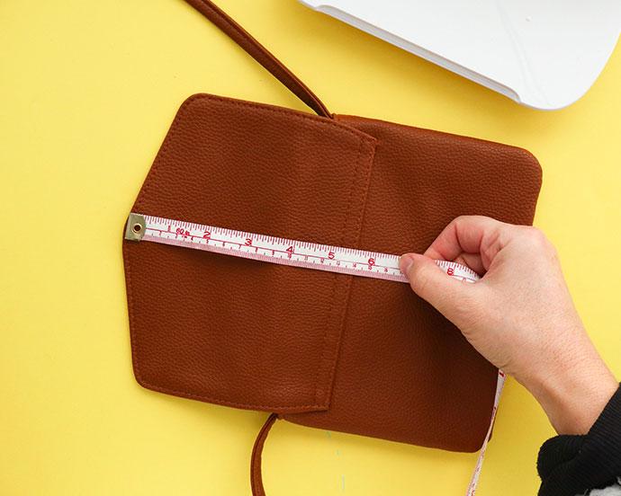 Leopard Print Bag makeover - step 2 - measure bag