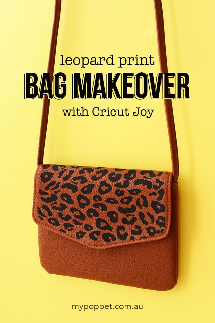 leopard print bag makeover DIY - brown handbag with text overlay