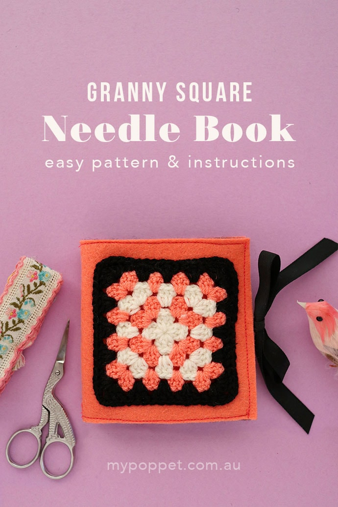 Granny Square Needle Book made of felt
