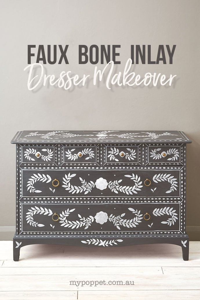 Grey Chest of drawers with painted faux bone inlay design - mypoppet.com.au
