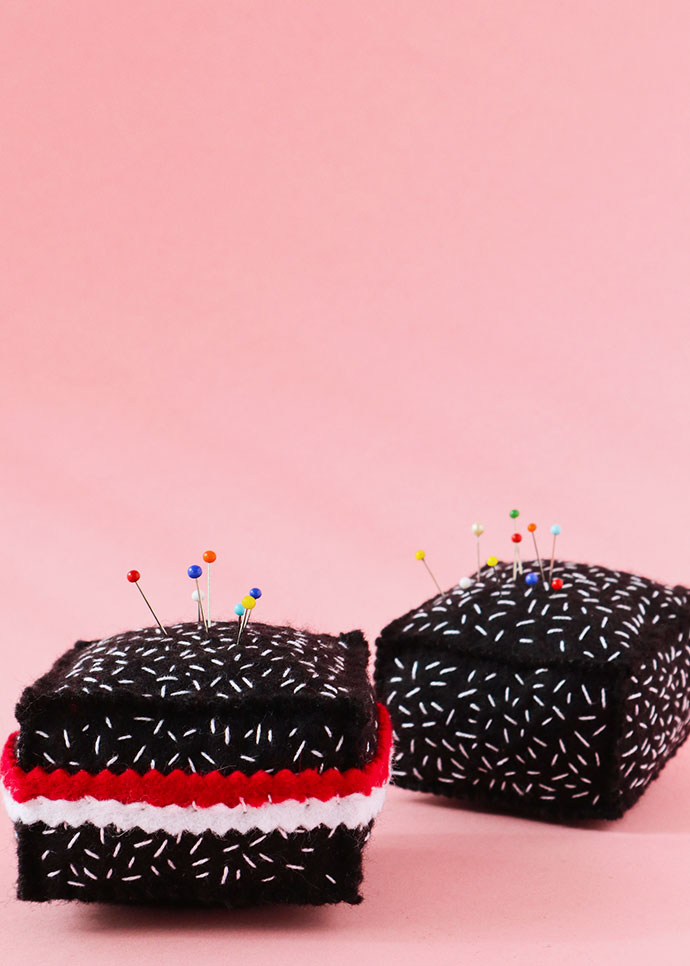 Lamington Pincushion - Felt play food cake
