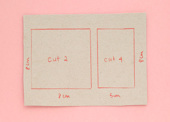 Measurements required for square pincushion pattern