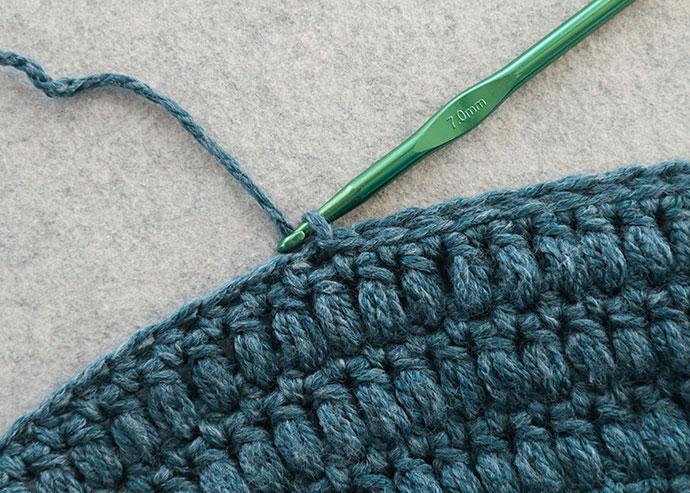 slip stitch to finish cowl