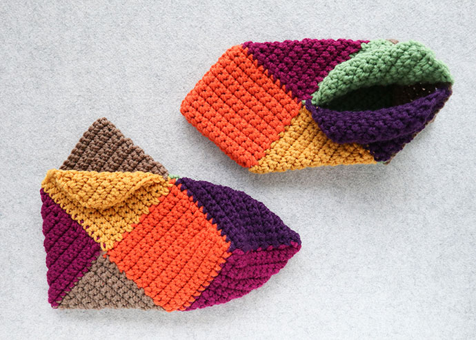finished crochet slippers