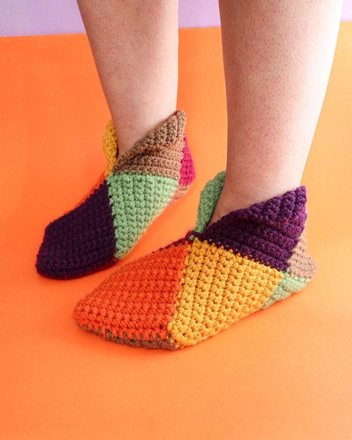 free chrochet slipper pattern - Harlequin slippers