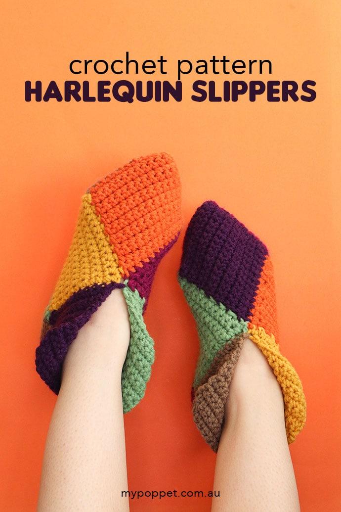 harlequin slippers free crochet slippers patten - feet wearing multicolored slippers on orange background