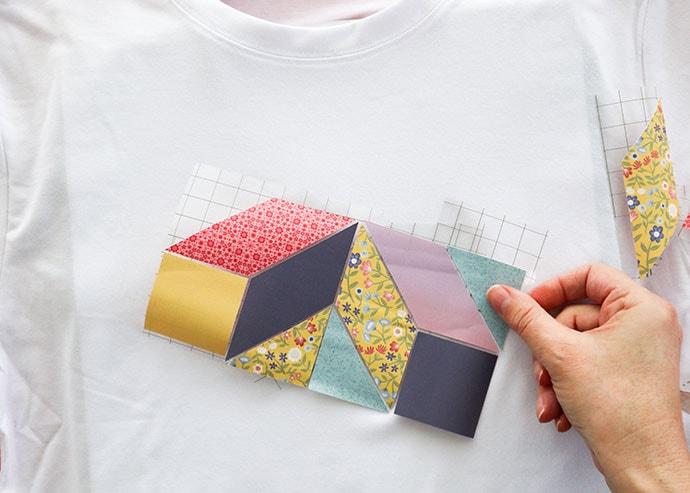 patchwork tshirt tutorial  puzzle from paper