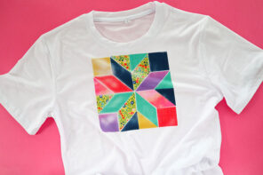 Infusible ink patchwork t-shirt - white t-shirt on pink background