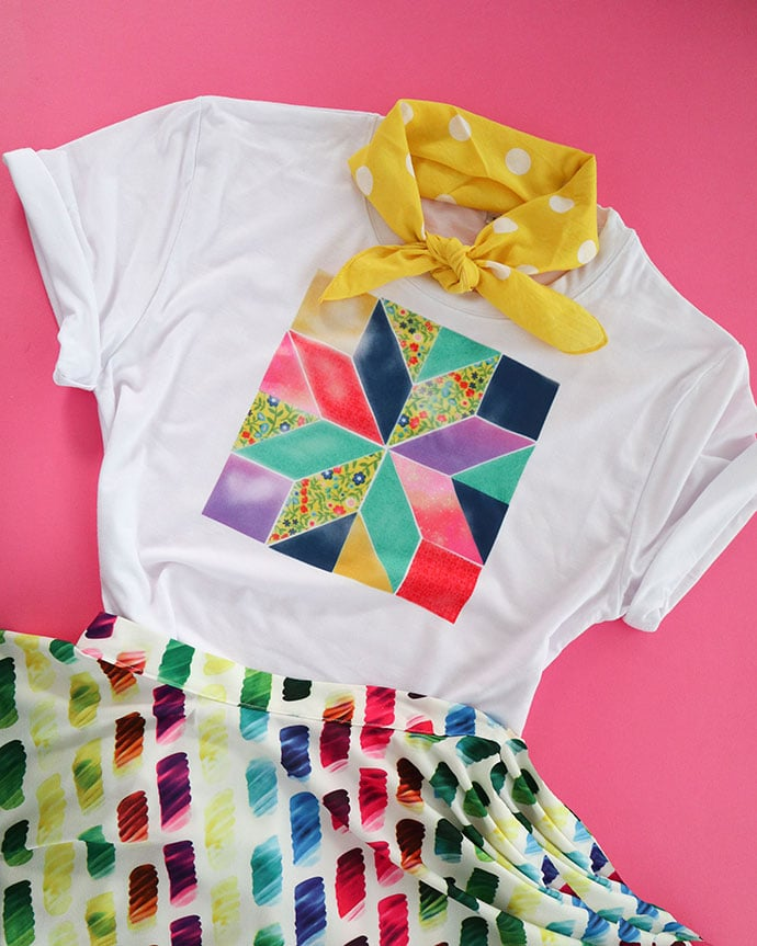 patchwork t-shirt styled with yellow neck scarf