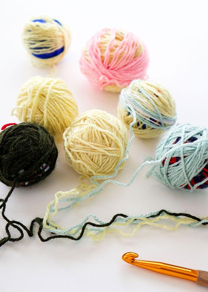 scrap yarn balls