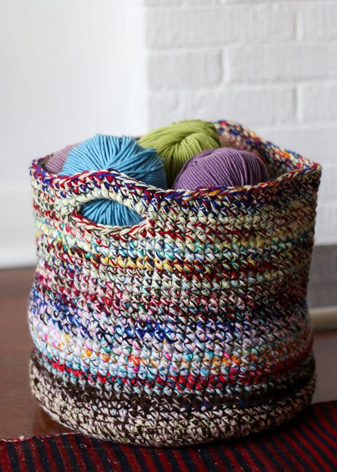 scrap yarn crochet basket pattern