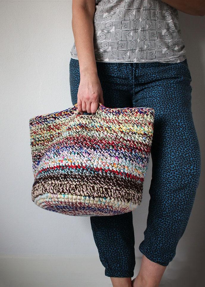 Scrap yarn crochet bag