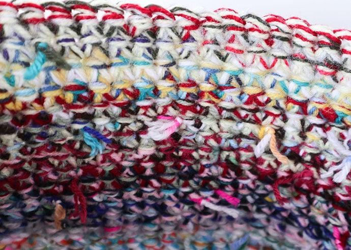 inside crochet basket, yarn knots