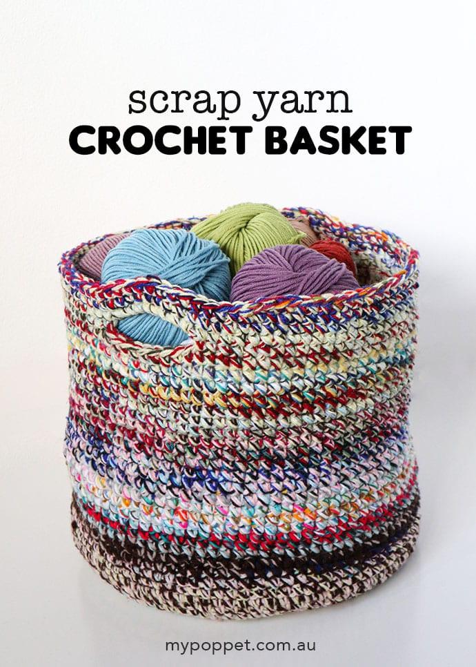Scrap yarn crochet pattern - basket or bag