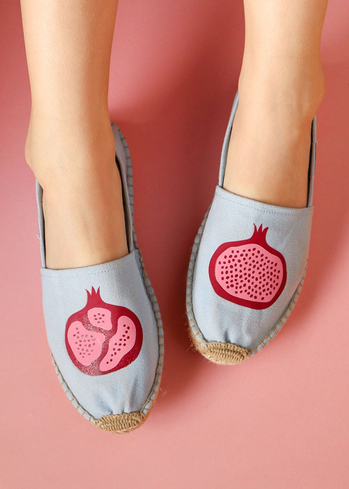 Iron on Vinyl Shoe makeover - pomegranate espadrilles on a pink background