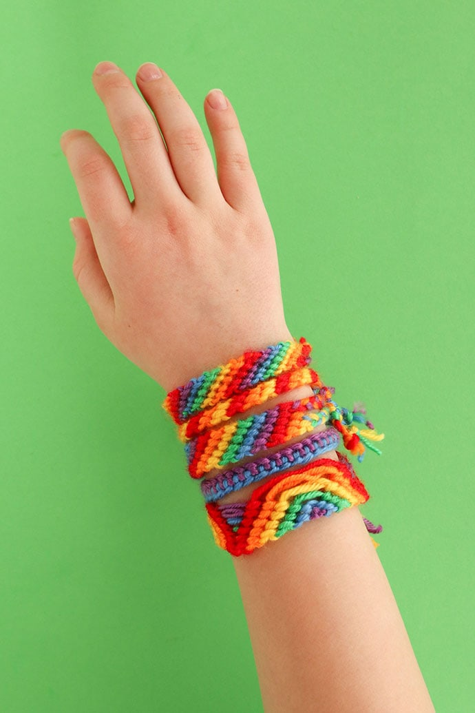 rainbow friendship bracelets made with crayola yarn box