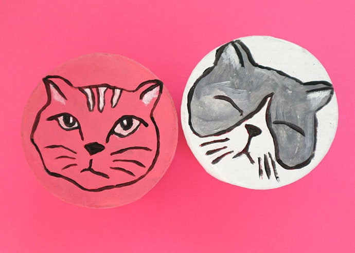 Hand Painted cat faces
