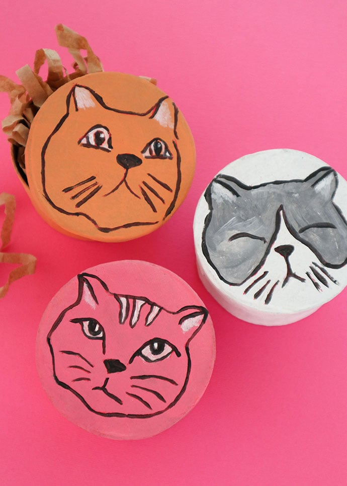 How to make Hand painted cat face gift box