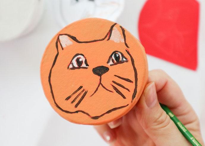 hand painted orange cat face