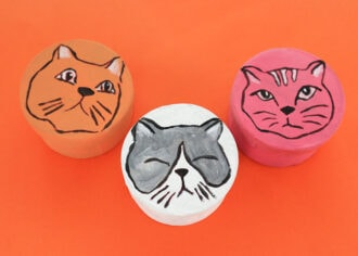 3 cat face round gift box - DIY craft project