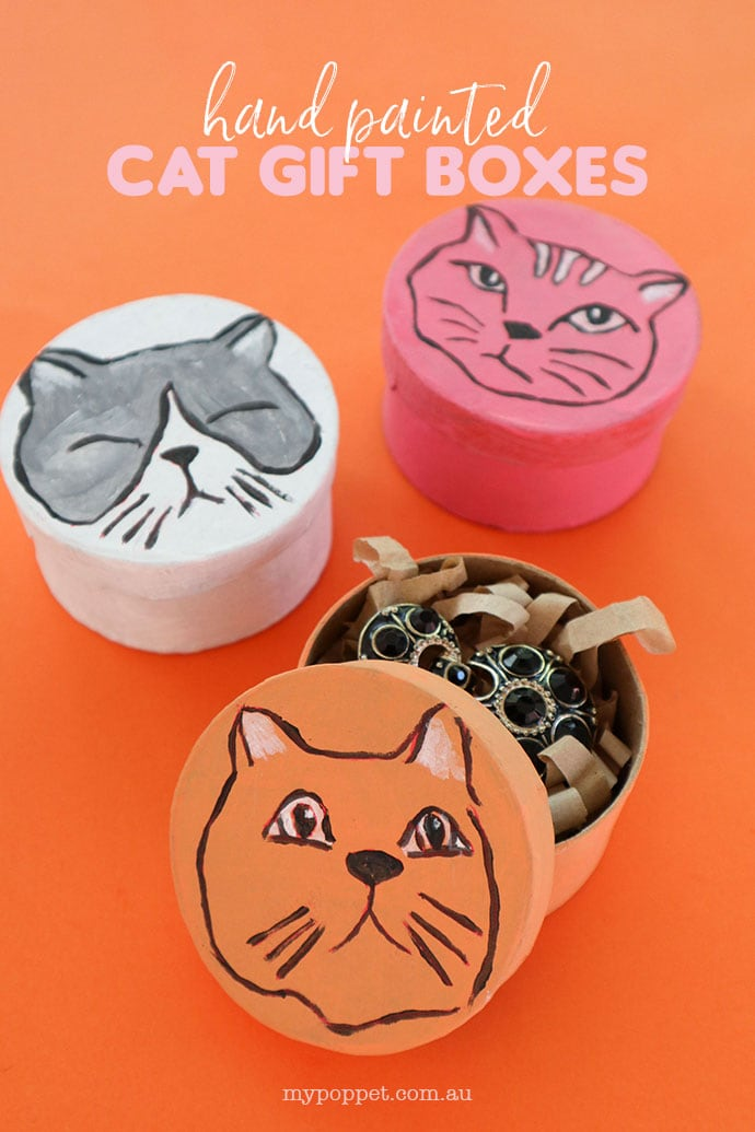 Hand Painted Cat Gift Boxes craft - 3 round boxes with cat faces