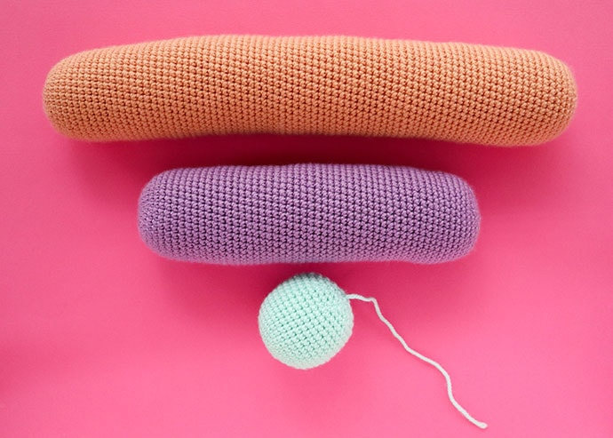 Crochet components to make rainbow pillow
