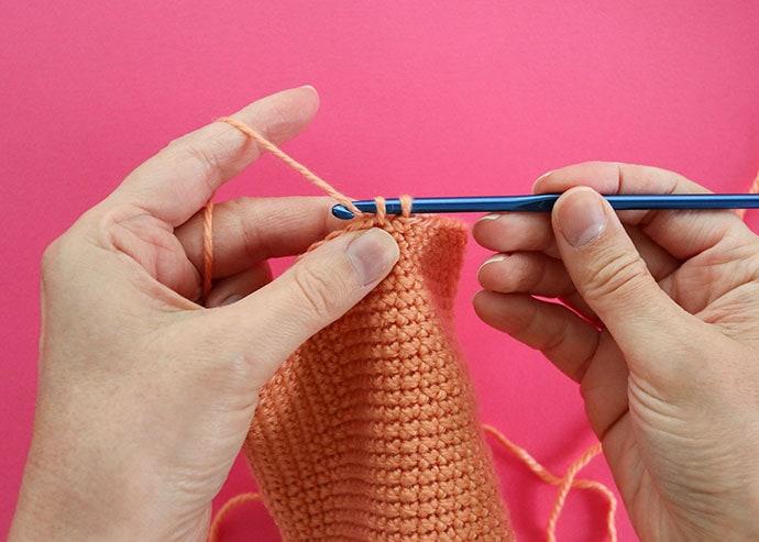 yarn under single crochet stitch