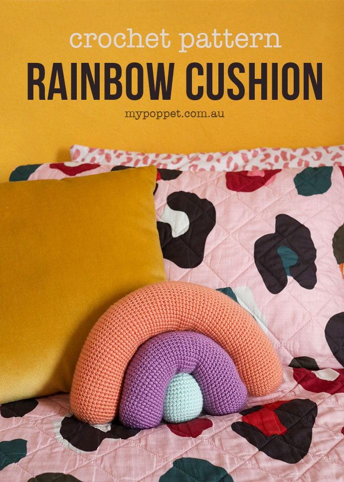 Crochet pattern rainbow pillow