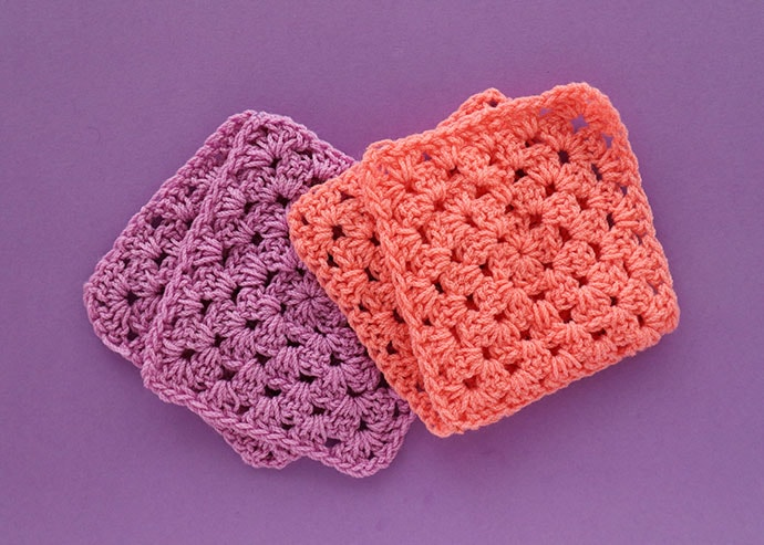 Lilac and peach crochet granny squares