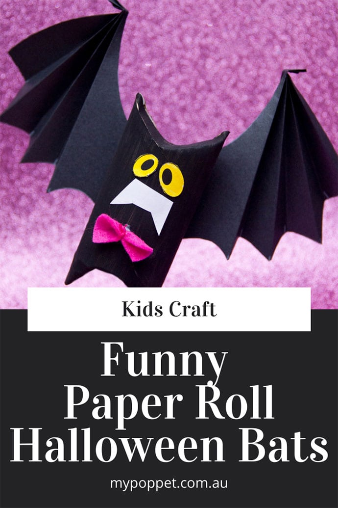 Toilet paper roll Bats kids recycle craft - mypoppet.com.au