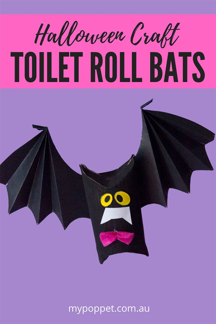 Toilet roll craft bat puppet
