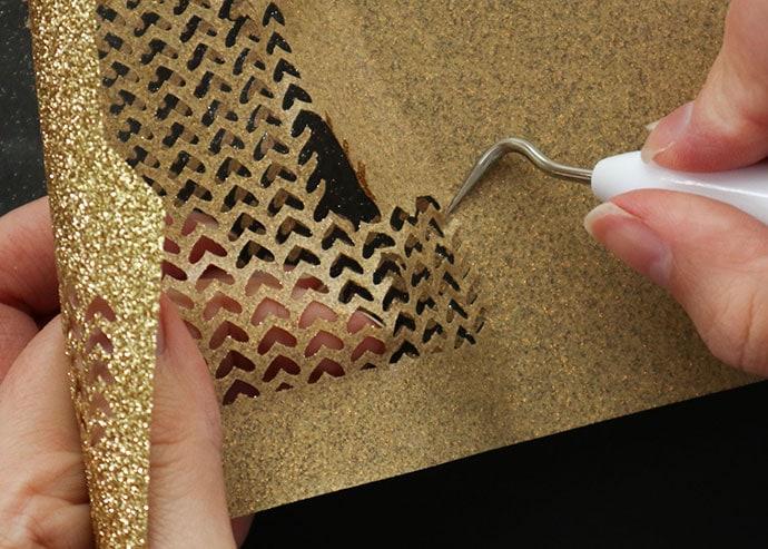 Weeding glitter vinyl - cricut iron-on project