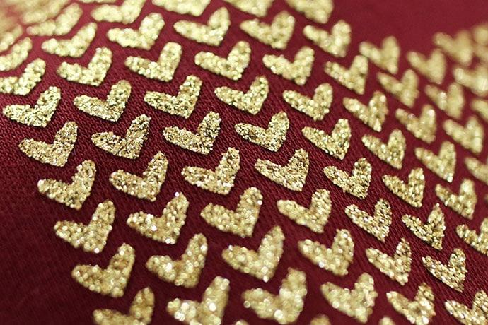 close up cricut glitter iron on vinyl