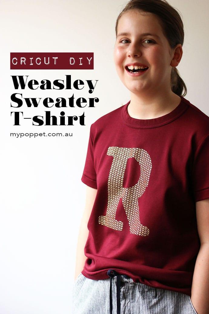Girl wearing tshirt with Letter R print - DIY Weasley Sweater Tshirt