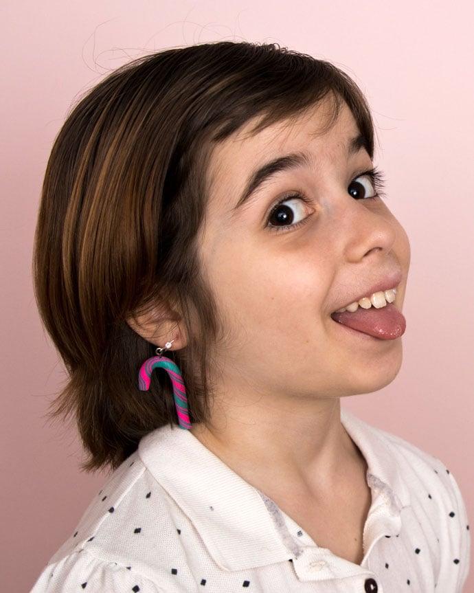 DIY polymer clay candycane earrings