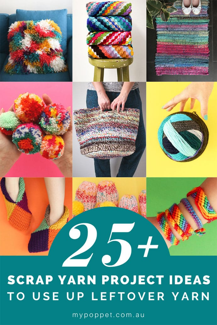 Title graphic scrap yarn project ideas collage images