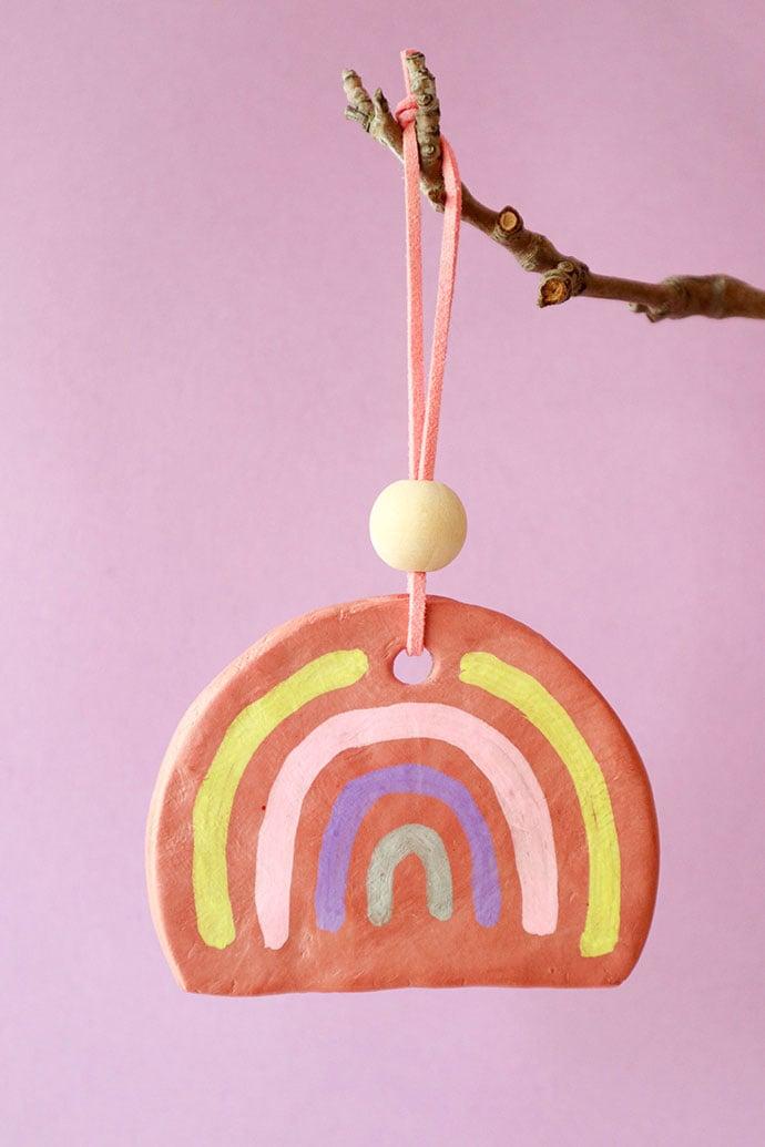 Terracotta clay rainbow Christmas ornament