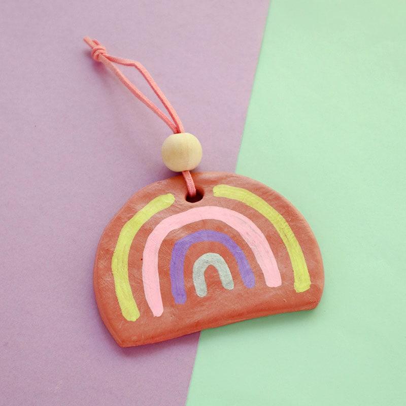 Terracotta clay rainbow ornament - christmas ornament