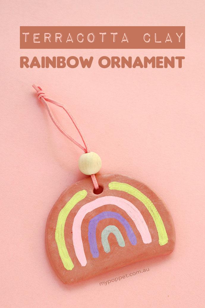 DIY air dry clay rainbow ornament