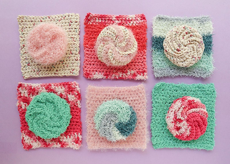 6 cotton crochet dishcloths - free pattern