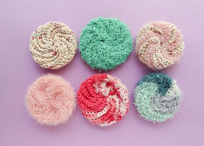 6 crochet spiral scrubbies