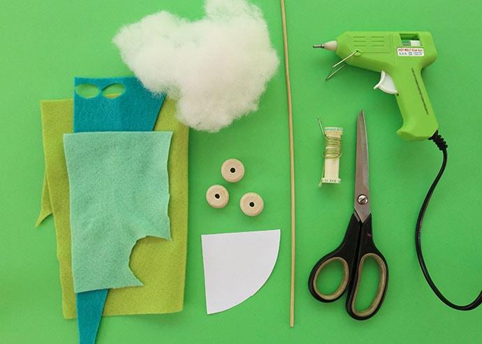 Mini felt tree craft supplies