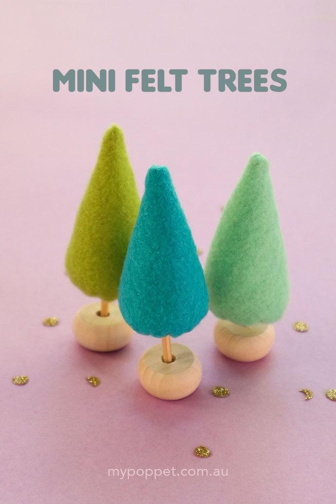 Mini Felt Trees on a lilac background